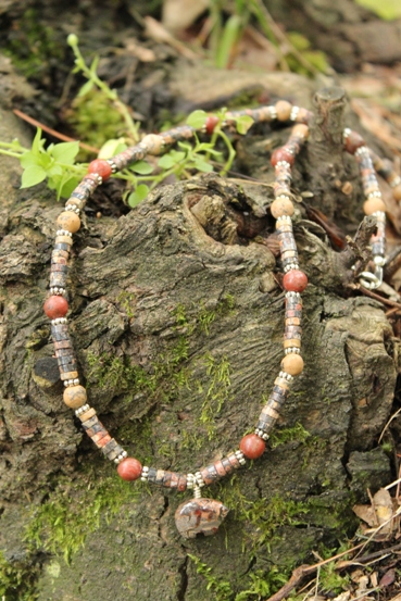 Leopard Jasper Focal and Heshi Grain Stone